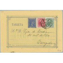 1880. 5 c. azul + 5 c. verde. (Ed. 201) + 10c. rosa (Ed. 202). Madrid a Zaragoza. Mat. Madrid (Laiz 8Fad) 120€