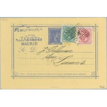 1879. 5 c. azul + 5 c. verde. (Ed. 201) + 10 c. rosa (Ed. 202) Madrid a Linares, Jaén. Mat. Rombo de puntos con estrella (Laiz 8
