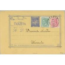 1879. 5 c. azul + 5 c. verde. (Ed. 201) + 10 c. rosa (Ed. 202) Madrid a Alicante. Mat. Madrid y Rombo de puntos con estrella (La