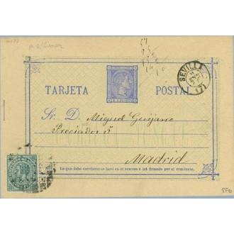1877. 5 c. azul + 5 c. I. de Guerra (Ed. 183) Sevilla a Madrid. Mat. Taladro limado, fechador Sevilla (Laiz 8Fb) 35€