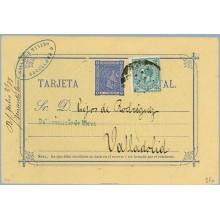ALFONSO XII 1877. 5 c. azul + 5 c verde. Impuesto de Guerra ( Ed. 183) Barcelona a Valladolid. Mat.Taladro sin limar (Laiz 8Fb)