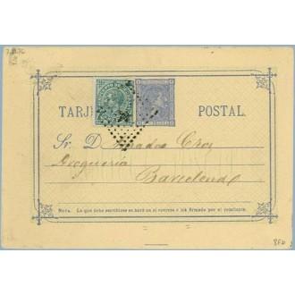 1876. 5 c. azul + 5 c. verde. I. de Guerra (Ed. 183) Cartagena a Barcelona. Mat. Rombo de puntos con estrella (Laiz 8Fb) 35€