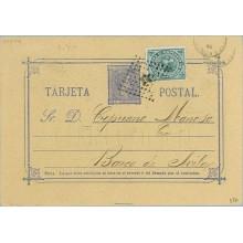 1876. 5 c. azul + 5 c. verde. I.de Guerra (Ed. 183) Cartulina gris. La línea de la Dirección más corta. Valladolid a Barco de Av