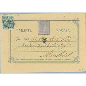 1876. 5 c. azul + 5 c.verde Impuesto de Guerra. (Ed.183) Huesca a Madrid. Mat. Madrid (Laiz 8Fb) 35€