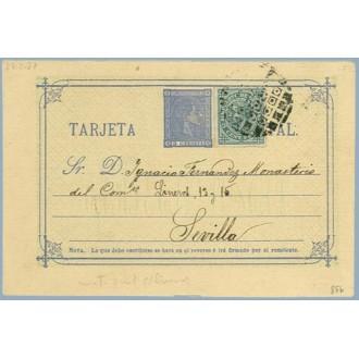 1877 c. azul + 5 c. verde. I. de Guerra (Ed. 183) Barcelona a Sevilla, Mat.Taladro sin limar (Laiz 8Fb) 40€