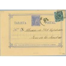 1877. 5 c. azul + 5 c. verde. I. de Guerra (Ed. 183) Dirigida a Jerez de Frontera, Mat. Rombo de puntos con estrella (Laiz 8Fb)