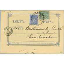 1877. 5 c. azul + 5 c. verde. I. de Guerra (Ed. 183) Palencia a Santander, Mat.Taladro sin limar (Laiz 8Fb) 40€