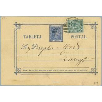 1877. 5 c. azul + 5 c. verde. I. de Guerra (Ed. 183) Catatayud, Zaragoza a Zaragoza, Mat. Taladro sin limar (Laiz 8Fb) 40€