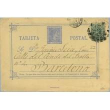 1877. 5 c. azul + 5 c. verde. I. de Guerra (Ed. 183) Bilbao a Barcelona. Mat.Taladro sin limar (Laiz 8Fb) 40€