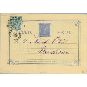 1877. 5 c. azul. + 5 c. verde. Impuesto de Guerra (Ed. 183) . Dirigida a Barcelona.. Mat. Taladro sin limar (Laiz 8Fc) 40€