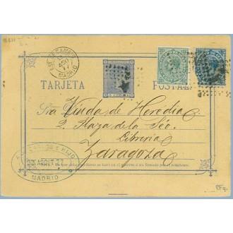 1877. 5 c. azul + 5 c. verde + 10 c. azul. I. G. (Ed. 175-183) Madrid a Zaragoza. Mat. Rombo.con estrella y Estafeta de Cambio (