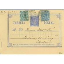 1877. 5 c. azul + 5 c. verde + 10 c. azul. I. G. (Ed. 175-183) Zaragoza a Madrid. (Laiz 8Fe) 36€