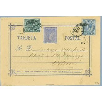 1877. 5 c. azul + 5 c. verde. (Ed. 183) + 10 c. azul (Ed. 175) I. de Guerra. Valladolid a Vitoria, Mat. Taladros sin limar (Laiz