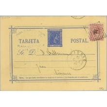 1878. 5 c. azul + 15 c. carmín. I. de Guerra (Ed. 188) Madrid a Linares, Jaen, Mat. Rombo de puntos con estrella (Laiz 8Ff)35€