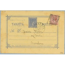 1878. 5 c. azul + 15 c. carmín. I. de Guerra (Ed. 188) Madrid a Barcelona. Mat. Rombo de puntos con estrella (Laiz 8Ff) 35€
