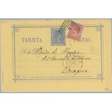 1879. 5 c. azul + 15 c. carmín. I. de Guerra (Ed. 188) Madrid a Zaragoza. Mat. Rombo de puntos con estrella (Laiz 8Ff) 35€