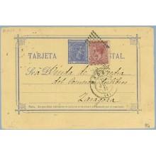 ALFONSO XII 1878. 5 c. azul. + 15 c. carmín. Impuesto de guerra (Ed.188) Madrid a Zaragoza. Mat. Madrid y Rombo de puntos (Laiz