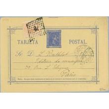 1879. 5 c.+ 5 c. naranja (Ed.191) Correo interior. Faltan 10 c. en sellos de I. de guerra. Madrid a Paris. Mat. Estafeta de Camb