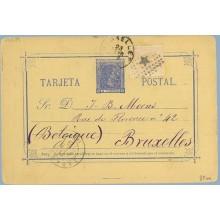 1879. 5 c.+ 5 c. naranja (Ed.191) Correo interior. Faltan 10 c. en sellos de I. de guerra. Zaragoza a Bruselas. Mat. Rombo con e