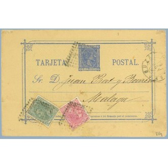 1880. 5 c.+ 5 c. verde. (Ed.201) + 10 c. rosa (Ed.202) Zaragoza a Málaga. Mat. Rombo de puntos (Laiz 8Fq) 130€