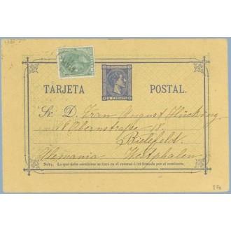 1880. 5 c. azul + 5 c. verde. (Ed. 201). Faltan 5 c. Málaga a Alemania, fechador Estafeta de Cambio de Madrid (Laiz 8Fs) 100€