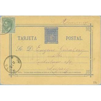1880. 5 c. azul + 5 c. verde. (Ed. 201) Faltan 5 c. Madrid a Leipzig, Alemania, fechadores Estafeta de Cambio y de llegada (Laiz