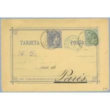 1880. 5 c.+ 5 c. verde (Ed.201) Falta de franqueo. Madrid a París. Mat. Madrid, fechador de llegada (Laiz 8Ft) 120€