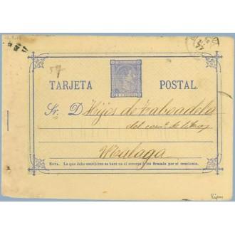 1877. 5 c. azul. Sobreimpresión privada, MONTANER Y SIMON. Editores. Barcelona. A Málaga (Laiz 8ipm) 50€