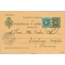 1907. Cadete. 5 c. verde azul. + 5 c. verde. (Ed.242) Madrid a Steinhagen, Alemania. Mat. Madrid y llegada (Laiz 43Fd) 70€