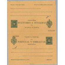"""1903. Cadete. 5 c. + 5 c. verde. """"Direccion"""" sin acento y primera """"i"""" rota, en la nota, en la tarjeta de Vuelta. (Laiz 44cb) 90€"""