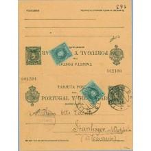 1907. Cadete. 5 c. + 5 c. verde azul + 5 c. verde. Cadete (Ed. 242). Madrid a Steinhagen. Mat. Madrid y fechador de llegada (Lai