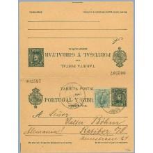 1911. Cadete. 5 c. + 5 c. verde azul + 5 c. verde. Medallón (Ed. 268). Cadiz a Rasibor, Alemania. Mat. Cadiz (Laiz 44cb+Fb) 150€