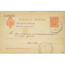 1909. Cadete.10 c. rojo intenso. Lérida a N.York. Mat. Lérida (Laiz 45a) 50€