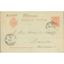 1906.10 c. rojo. Bremen, Alemania. Mat. Ambulante y llegada (Laiz 45A) 6€