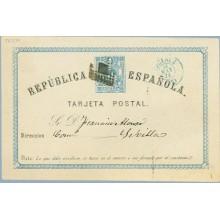 1874. 5 c. azul. Cáceres a Sevilla. Mat. Rombo de puntos y fechador CACERES, en color azul.Araña con 5 de Granada (Laiz 1) 80€