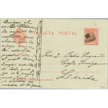 1904. 10 c. rojo. Lérida. Mat. R. de puntos central macizo (Laiz 45A) 80€
