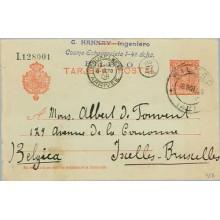 1908. Cadete.10 c. rojo. Bilbao a Bruselas, Mat. Bilb. llegada (Laiz 45A) 6€