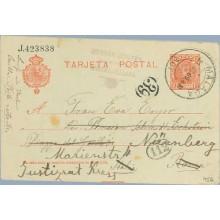 1909. Cadete.10 c. rojo. Málaga a Nurnberg. Mat. Málaga (Laiz 45A) 6€