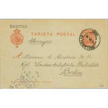 1905. Cadete.10 c. rojo.Valladolid a Berlín. Mat. Vall. llegadaa (Laiz 45A) 6€