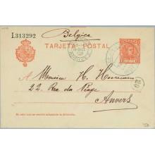 1908. Cadete.10 c.rojo. Galaroza a Anvers. Mat. Gala. y llegada (Laiz 45A) 6€