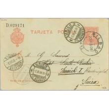 11906. Cadete.10 c. rojo. Bilbao a Zurich. Mat. Bilbao y llegada (Laiz 45A) 6€