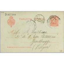 1906. Cadete.10 c. rojo. Avilés a Gendbruge. Mat. Amb. llegada (Laiz 45A) 12€