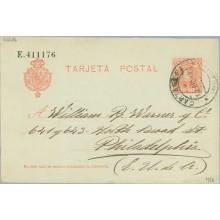 1906. Cadete.10 c. rojo. Cartagena a Philadelphia. Mat. Cartag (Laiz 45A) 35€
