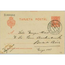 1906. Cadete.10 c. rojo. Tenerife a B. Aires. Mat.Tenerfie (Laiz 45A) 35€