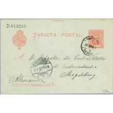 1907. Cadete.10 c. rojo sobre azulado. Marcilla, Navarra a Magdeburg, Alemania. Mat. Ambulante y llegada (Laiz 45Aa) 20€
