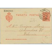 1908. Cadete.10 c. rojo s. azulado. LLerena, Badajoz a Valencia. Mat. Ambulante Asc. y llegada (Laiz 45Aa) 20€