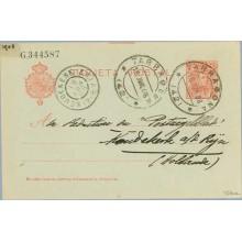 1908. Cadete. 10 c. rojo s. azulado. La tercera línea de la dirección está desplazada a la izquierda y comienza a la altura de l