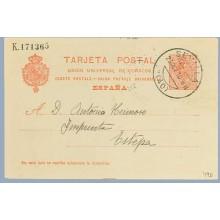 1910. Medallón.10 c. rojo sobre azulado. Sevilla a Estepa. Mat. Sev. llegada (Laiz 53) 3€