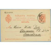 1912. Medallón.10 c. rojo s. azulado. Barcelona. Mat. Barcelona (Laiz 53) 3€
