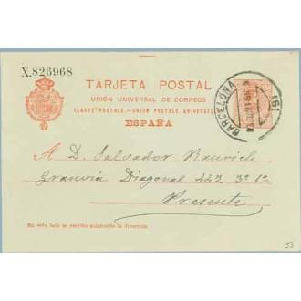 1916. Medallón.10 c. rojo s. azulado. Barcelona. Mat. Barcelona (Laiz 53) 3€